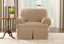 Chair Cocoa tan Cotton canvas T-cushion w/piping One Piece Slipcover sure fit