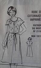 MODE couture robe imprimée cottonade taille 40 à 48 PATRON MODES & TRAVAUX 1977