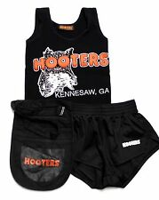 HOOTERS GIRLS BLACK UNIFORM OUTFIT - TANK,SHORTS & POUCH - XX SMALL - KENNESAW
