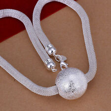 hot! Sterling solid silver fashion jewelry Chain big ball Necklace XLSN182