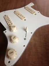 Prewired Strat Pick Guard Parchment Seymour Duncan Everything Axe Pickups Creme