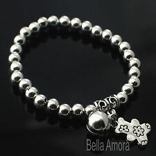 925 Silver Pltd Teddy Bear Bell Charm Bead Ball Stretch Bangle Bracelet Gift B6