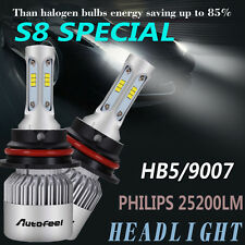 Philips 9007 25200LM LED Headlight Kit Hi/L Beam HB5 Bulbs 6500K For Ford Dodge