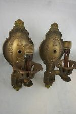 Pair Vintage Wall Sconces 1920 Polychrome Floral Lights Flower Lamps Antique