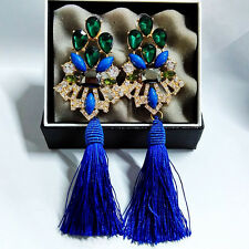 ANTHROPOLOGIE MOST AMAZING BLUE GREEN STONES TASSELS 5,5'' DROP DANGLE EARRINGS
