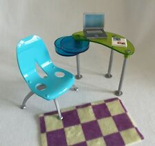 Barbie Mattel Fashion Fever Study w/ Blue Mod Chair 5 pcs Desk Laptop