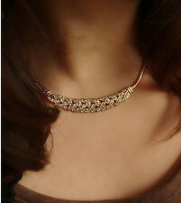 Iryaa Fashion Gold Finish Imitation Diamond Short Clavicle Chain Necklace