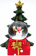 Small Snowman Holding a Brush LED Snowglobe with Christmas Tree Detail