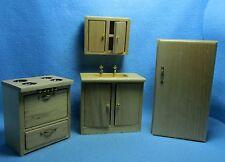 Dollhouse Miniature Complete Oak Kitchen Set 4 Pieces ~ T4777