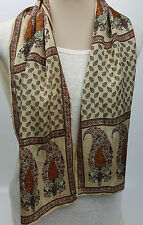 Elaine Gold for Monique Martin beige silk peacock paisley oblong scarf 10.5X51