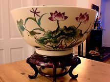 LARGE ANTIQUE CHINESE EXPORT PUNCH BOWL  QIANLONG FAMILLE ROSE BIRD FLOWERS