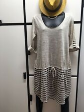 JOURNAL STANDARD FREE SIZE NATURAL INK STRIPED LINEN DROPPED WAIST DRESS NWT
