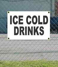 2x3 ICE COLD DRINKS Black & White Banner Sign NEW Discount Size Price FREE SHIP