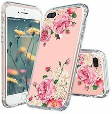 IPhone 7 Plus Case, MOSNOVO Tropical Floral Pink Rose Flower Clear Design Hard
