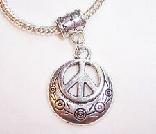 Peace Sign Flowers Retro 1960's Dangle Bead fits Silver European Charm Bracelets