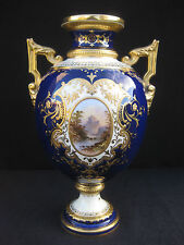 Coalport Cobalt Blue Vase with Raised Gilding and Hand painted Landscapes. c1900