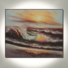 HUGE OCEAN SEA SCAPE OIL PAINTING ON CANVAS HAND PAINTED