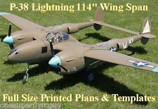"P38 Lightning 114"" WS Giant Scale RC Airplane Full Size PRINTED Plans &Templates"