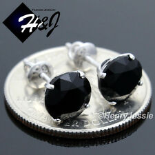 MEN WOMEN 925 STERLING SILVER 8MM BLACK ROUND CUT CZ SCREW BACK STUD EARRING*E88