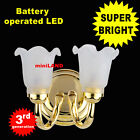 D Tulip Sconce SUPER bright battery operated LED LAMP Dollhouse miniature light