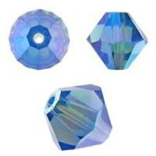 Genuine Swarovski Bicone.Sapphire AB 2X Color. 4mm. Approx. 144 PCS. 5328