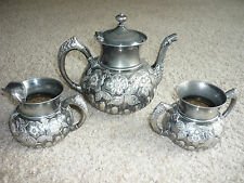 HARTFORD SILVERPLATE CO.  CHASED QUADPLATE 3 PC TEA SET(1881-1893) EXQUISITE!