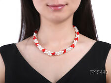 NEW 6x8mm Three-strand White Freshwater Pearl and Red Coral Beads Necklace