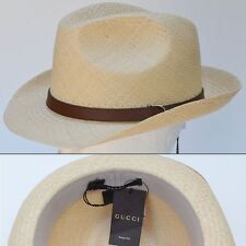 GUCCI New sz L Mens Sun Summer Straw Designer Fedora Trilby Hat Authentic