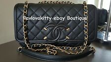 BNIB CHANEL 17 SS Black Caviar Filigree Rectangular Flap Bag Brush Gold HW