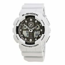 Casio GA100LG-8A Gent's Grey Ana-Digi Dial White Resin Band Watch