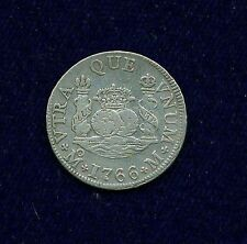 MEXICO SPANISH COLONIAL CHARLES III  1766-MoM  2 REALES SILVER COIN, XF