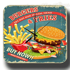 BURGERS & FRIES AMERICAN DINER  VINTAGE RETRO  METAL TIN SIGN WALL CLOCK