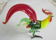 russian glass rooster yellow neck red tail murano figurine art hand blown