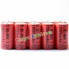 10 Pcs D 1.2V 13000mAh Ni-MH rechargeable battery Red