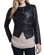 NEW NWT LaMarque Cropped Leather Drape Jacket Black Size M