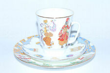 Russian Imperial Lomonosov Porcelain Tea Coffee cup 3pc set Scheherazade ballet
