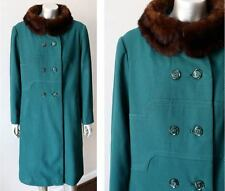 Mink Worsted Wool Vintage 60s Green Mod Go Go Double Breast Coat Sz M