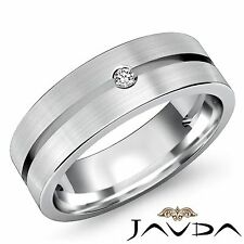 Round Solitaire Diamond Mens Half Wedding Band 14k White Gold Solid Ring 0.10Ct