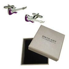 Mens Purple Electric Guitar Cufflinks & Gift Box By Onyx Art Player