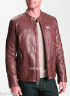 Custom Tailor Made All Sizes Genuine Leather Jacket Stylish 4 Zips Short Style