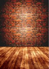 Vintage Red Brick Wood Wall Floor Vinyl Photography Studio Backdrop Photo 5x7ft