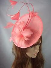 Coral Statement Curve Saucer Fascinator With Feather Flowers - Wedding Races