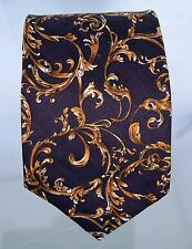 """Brooks Brothers brown tie with gold leaf motif 57.75"""" long"""