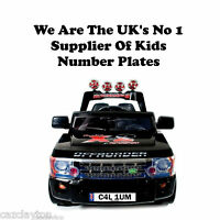 """PERSONALISED NUMBER PLATE FOR KIDS RIDE ON CAR""""ROCKET RS SPORT JEEP RANGE ROVER"""""""