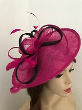 Fuchsia Pink Black Fascinator Saucer Hat Hatinator Races Formal Wedding Fushia