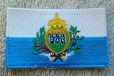 SAN MARINO FLAG PATCH Embroidered Badge Iron or Sew on 4.5cm x 6cm Europe Italy