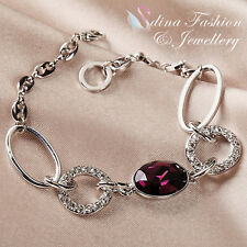 18K White Gold Plated Swarovski Crystal Oval Cut Elegant Interlocking Bracelet