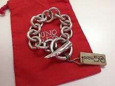 "NWT Uno de 50 Silvertone w/ Horn Closure Bracelet  6.25"" ""Don't Mind it"""