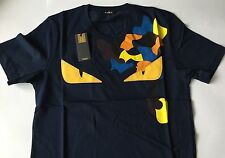 Brand New Fendi Men's T-Shirt Monster Blue Short Sleeve Italy Eye Size XXL
