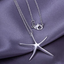 HOT! chains necklace sterling solid silver starfish pendant necklace XLSP027